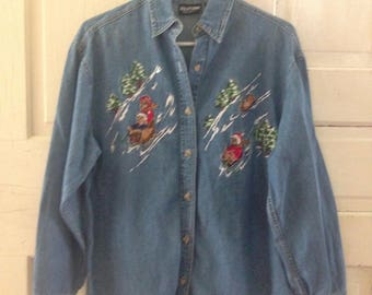 Vintage jean button-up! Sledding bears! Size SMALL!