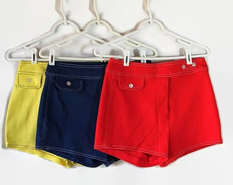 1970s Hot Pants Short Shorts Choice of Red Blue Yellow