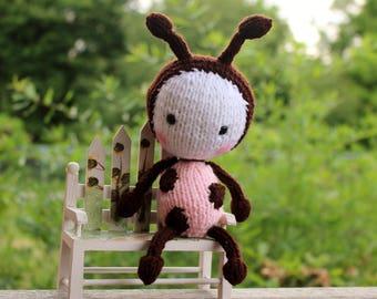 Knit Ladybug Girl Doll - Amigurumi Toy