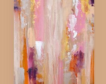 "Paintings, Original, Pink, Gold, Art Acrylic Abstract Painting on Canvas by Ora Birenbaum Titled: FLIRT 2 24x36x1.5"""