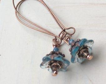 Blue flower Earring,Earrings,Bohemian Earrings,Flower Earring,Friendship gift,Earrings,Gift,get well gift,Garden Earrings