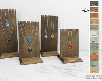 Wood Necklace Displays Set of 4 with Bases, Wood Jewelry Displays, Necklace Bust, Necklace Stand, Necklace Holder, Choose the Color