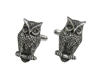 Perched Owl Bird Cufflinks