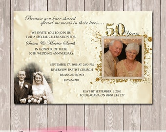 Wedding Anniversary Invitation with photos - 25th 50th 60th - YOU PRINT