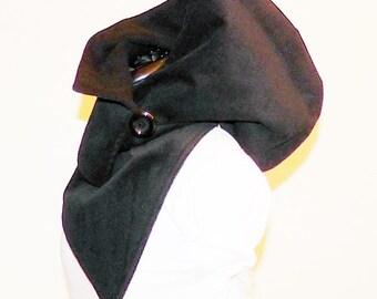 Hooded scarf - fine cord black