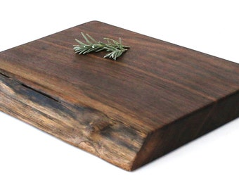 "Rustic Natural Edge Chopping Board - Black Walnut - Ready to Ship - 11""x9""x1-1/4"""