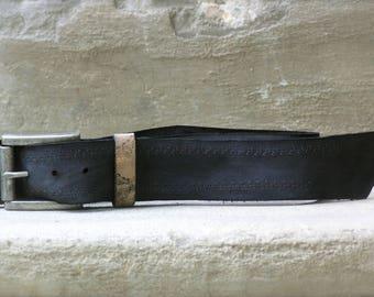 Simple Fly Chic Leather Belt, Midnight Women's Leather Belt, Genuine Leather Belt, Charcoal Blue Leather Belt,