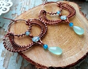 Copper Moroccan Earrings - Wire Wrapped  Earrings -   Blue Eastern Filigree Earrings - Chandelier  Dangle Arabic Copper wire earrings