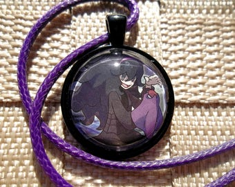 Ghost Girl/Hex Maniac glass pendant made from Trading Cards