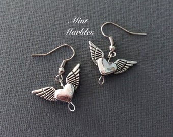 Heart with Wings Dangle Earrings. Love. Romantic. Winged Heart Dangle Earrings. Simple Under 10 Gifts for Her. Love. Couples. Romance.
