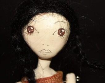 Bespoke, Handmade, Clay Art Doll with Vintage Fabrics. 'Anouk'
