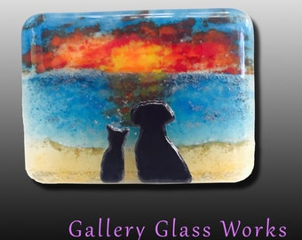 Friends at Sunset  - Dog & Cat Fused Glass Picture
