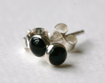 Tiny Black Onyx and Polished Sterling Silver 4mm Stud Earrings