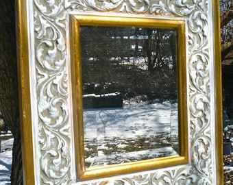 Mirror, Carved Mirror, Wood Mirror, Chunky Frame, Painted Frame, Beveled Mirror, Carved Wood, Gold, White Mirror, French, Provincial, Casa