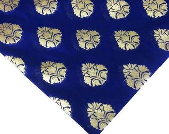 Navy and Gold Wedding Dress Fabric - Indian Silk fabric - Navy and Gold Silk Fabric by Yard - Sewing Crafting Costume fabric Banaras Silk