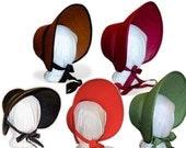 NQP* Choose Your Color Blank Jane Austen Late Regency Early Victorian Style Felt Bonnet Austentation