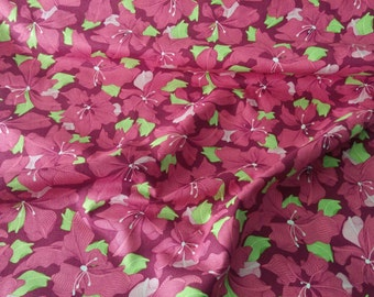 Fabric, Cotton Fabric, Magic Garden Collection  Flowers in Pink Cotton Fabric by the Yard