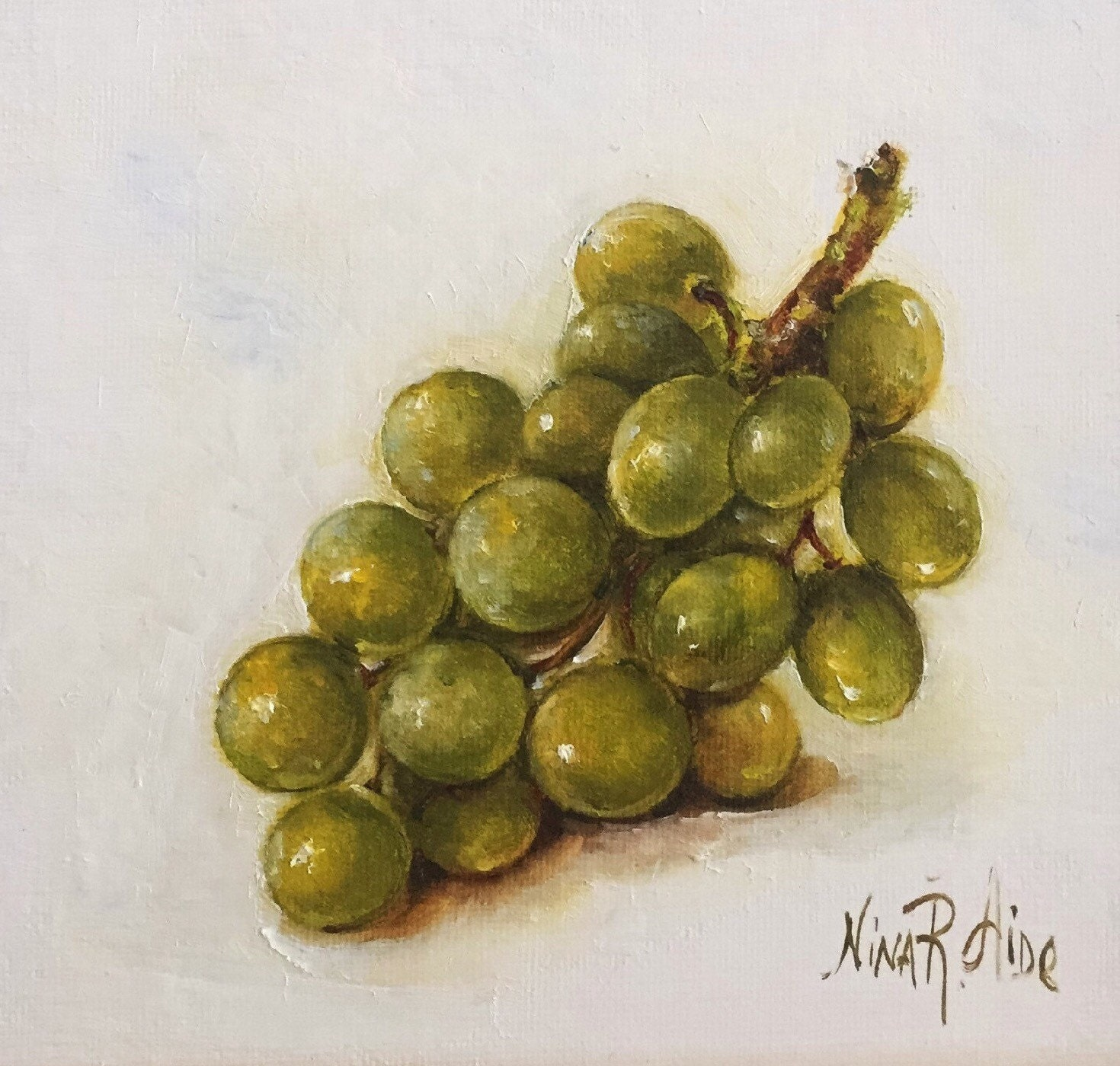 Oil Painting Green Grapes By Nina R Aide Still Life Kitchen