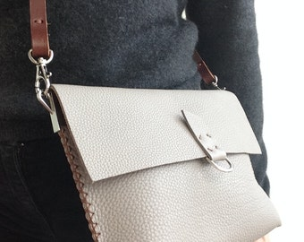 Hand stitched in UK small medium taupe grey grainy leather crossbody bag with brown stitch and brown strap