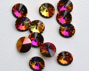 12, Volcano Rivolis, 39ss Swarovski, Rivoli Rhinestones, bulk rhinestones, wholesale rhinestones, jewelry supplies, loose swarovski