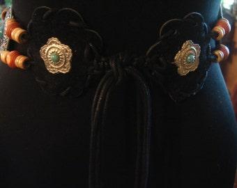 Vintage 1980s Black Velvet Concho Tie Belt