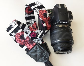 Camera Strap - dslr camera strap - stripes and flowers camera strap - camera neck strap