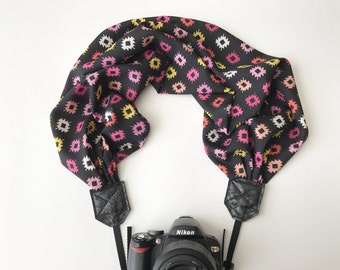 Scarf Camera Strap - dslr camera strap - camera neck strap - pink yellow and black Aztec geometric pattern