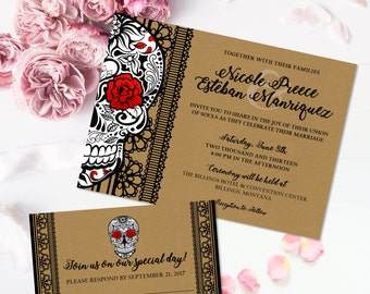 skull wedding invitations personalized digital invitations for weddings amp by 7539
