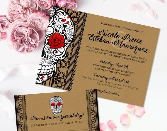 Skull Wedding Invitation Suite Gothic wedding Invitation Skull ...