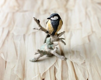 Vintage FM Painted Pewter Bird Great Tit Parus Major Figurine - 1981