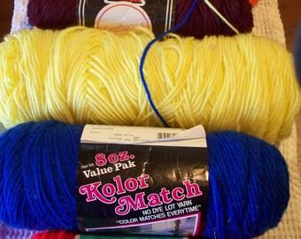 Various Skeins of Acrylic Yarn - Red, Blue, Yellow, Burgundy, or Orange