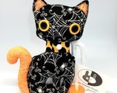 Halloween cat, Spider web black stuffed cat plushie, halloween decor, black and orange, soft halloween cat plush, rag doll, black cat doll