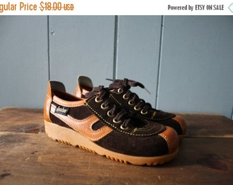 ON SALE Vintage Chocolate Brown and Camel Two Tone Shoes / Leather and Suede Gummy Sole Shoes / New Old Stock / Child size 12 to 12.5