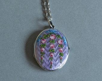Purple Locket Lavender Guilloche Locket Enamel Locket Lavender Necklace Sterling Enamel Locket Sterling Antique Guilloche Locket