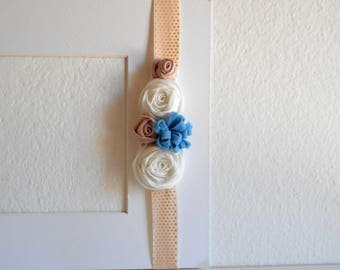 Girl headband with fabric flowers beige soft pink white
