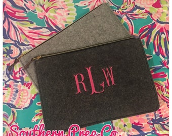 Heavy Felt Large Zipper Clutch/Ipad Case