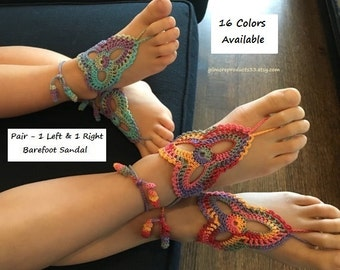Girls Barefoot Sandals GIRL'S Crochet Barefoot Sandal Foot Jewelry Shoes Sandals FOOTWEAR Birthday Gift for Kids SIZED Barefoot Sandles