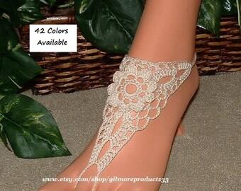 Crochet Beach Wedding Barefoot Sandals CUTE Bridal Foot Jewelry SIZED Yoga Sandal Lace Flat SHOES Women's Barefoot Ankle Sandles