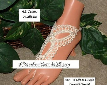 Ivory Beach Wedding Barefoot Sandals Lace Bridal Flats Shoes Footless Sandals Women Comfy SIZED Crochet Thong Footwear Sandles Gift