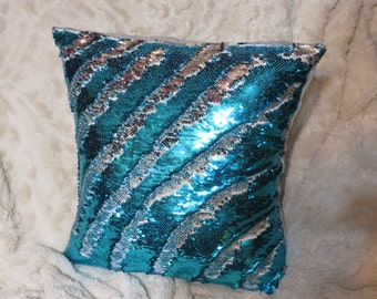 "Mermaid Pillow Cover, 16"" Teal & Silver, Mermaid Pillow, Sequin Pillow, Color-changing Pillow, Decorative Pillow, Throw Pillow"