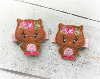 Owl Hair clip Floral Owl Hair Clip Woodland Owl Hair clippie cutie Autumn Clip  Pick one or two. Pick Left side or Right.