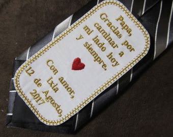 Father of the Bride - Personalized Embroidered Wedding Tie Patch - Spanish Version Shown with Gold Writing