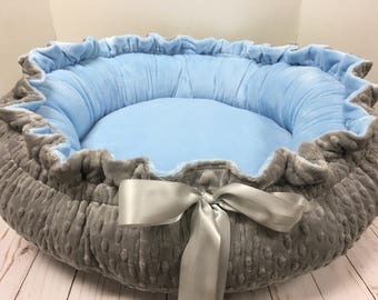 Silver dot outside Falt baby blue inside- Small Round Dog Bed, Round Pet Bed