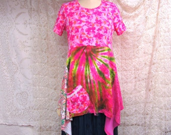 Large Tunic Top Tie Dye Recycled Boho Repurposed Lagenlook Altered Clothing Eco Wear