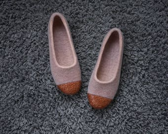 Felted slippers with copper glitter Wool home shoes  Dusty pink ballet flats with metallic copper glitter front Housewarming gift for her