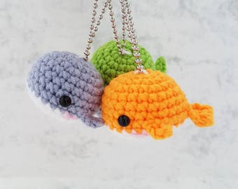 Crochet Whale, Amigurumi Whale, Miniature Whale, Handmade Whale, Stuff Whale, Crochet Toy, Cute Whale, Whale Keychain