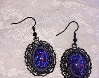 French Victorian Gothic Black settings Fire Opal Mexican Dragons Breath Larping earrings
