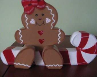 Candy cane, Gingerbread, shelf sitter, Christmas, wood, handpainted, hostess gift