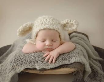 Lamb Hat, Newborn Lamb Hat, Baby Lamb Hat, Lamb Bonnet, Lamb Baby Shower, Baby Sheep, Infant Lamb Hat, Newborn Prop Ready, Ready to Ship