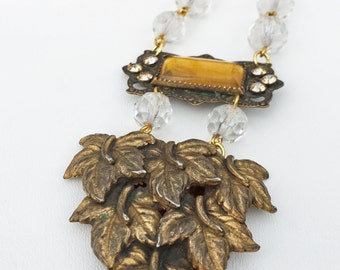 Vintage Leaf Fur Clip & Antique Brooch Assemblage Necklace ~ Beautiful Sparkling Chain ~ Salvaged, Upcycled, OOAK, One of a kind!